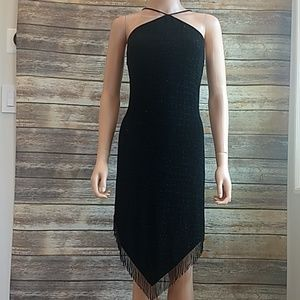 Cache Black Beaded Cocktail Dress